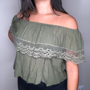 Army green cropped off the shoulder shirt